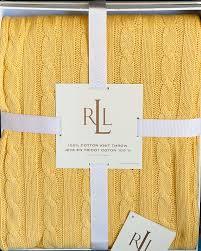 Ralph Lauren Blankets Amazon Com Ralph Lauren Yellow Cotton Throw Blanket Cable Knit