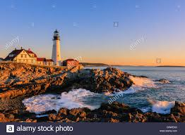 portland head light lighthouse sunrise at portland head light a historic lighthouse at cape stock