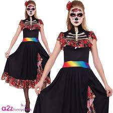 halloween costume mexican skeleton ladies mexican day of the dead skeleton fancy dress womens