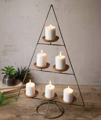 metal christmas tree christmas tree with clay candle holders