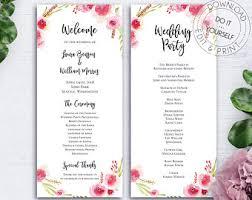 program for wedding reception wedding program etsy