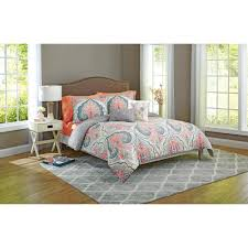 Coral Bedspread Better Homes And Gardens Grey Medallion 5 Piece Bedding Comforter