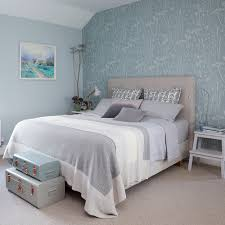 Teal And Grey Bedroom by Morris Rugs Chrysanthemum China Blue Feature Wallpaper Gray
