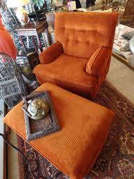 Funky Ottoman Classic Consignment On Vintage Flexsteel Orange Corduroy