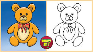 how to draw a teddy bear trace youtube