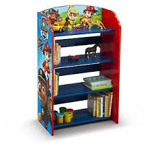 Kids Bookshelf Storage Paw Patrol Wooden Toy Organizer Shelves