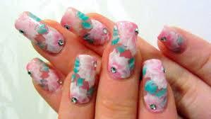pink one stroke rose design with rhinestones nail art tutorial