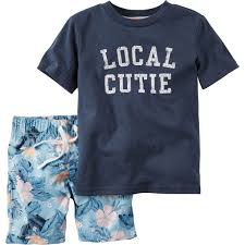 Children S Clothing Clearance Carter U0027s Infant Boys Navy Local Cutie Print Tee U0026 Shorts 2 Pc Set