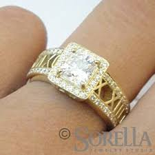 numeral ring handmade princess halo diamond numeral ring in 18k gold by