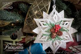 uniquely grace book page poinsettia ornament for your christmas tree