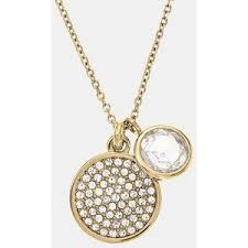 disc pendant necklace michael kors brilliance pave disc pendant necklace go
