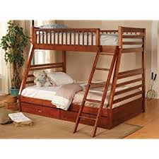Amazoncom Twin Full Size Bunk Bed With Storage Drawers In Cherry - Full sized bunk beds