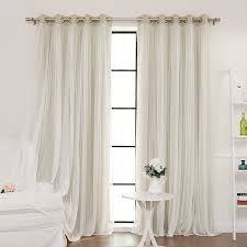 Blackout Curtain Panels With Grommets Delicate Sheer Lace Overlay Adds A Romantic Effect To Functional