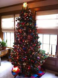 white christmas tree with colored lights nice decoration