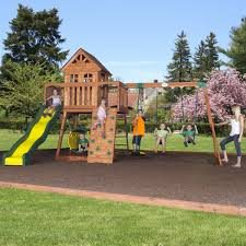 exterior expanse green grass with oak wood backyard playsets and