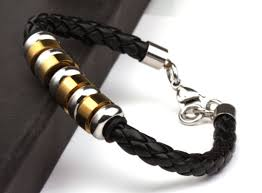 bracelet leather gold images Gold silver men leather bracelet unique mens jewelry by mens jpg