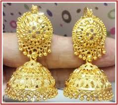24k gold plated traditional south indian earrings jhumka jewelry