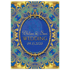 indian wedding invite glitter gold blue ganesha indian wedding invitation