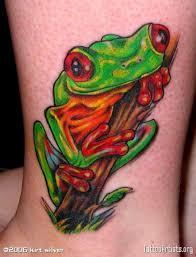 impressive tree frog on ankle