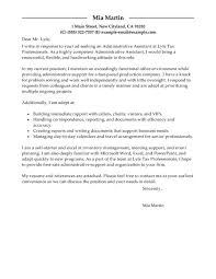 administrative support cover letter grants administrative