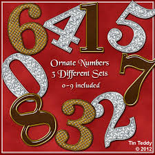 digital clip art number ornate sets 0 9 3 sets for