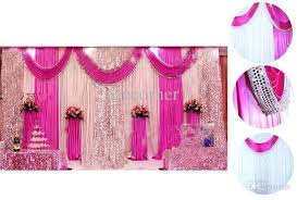Curtains Wedding Decoration Excellent Quality Fabric Satin Curtain Sequins Beads Edge Design