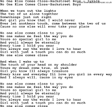 Blind To You Lyrics Love Song Lyrics For No One Else Comes Close Backstreet Boys