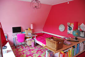 cute bright bedroom color ideas with white bed frame combined pink