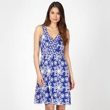 mantaray clothing mantaray blue tiled floral dress at debenhams