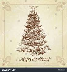vintage christmas tree hand drawn vintage christmas tree stock vector 65126719 shutterstock