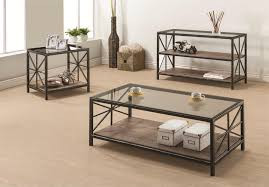 coaster avondale rustic coffee table with wood shelf and glass top