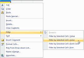 officetalk filtering by the active cell u0027s value font color or