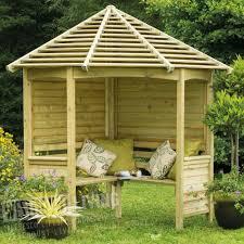 corner wooden garden arbour bench seat westmount living