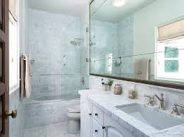 Mirrored Subway Tile Backsplash Bathroom Transitional With by Grey Marble Subway Tiled Tub With Glass Shower Partition