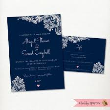 Invitation Card With Rsvp Navy Blue Wedding Invitation Rsvp Card Set Kit Lace U0026 Linen