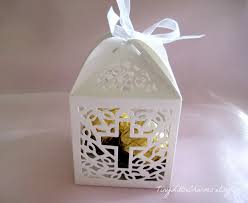 baptism favor boxes 12 holy cross white favor boxes for christening favors