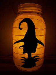 primitive halloween witch silhouette lantern candle holder