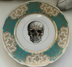halloween plates green u0026 gold skull dinner plate 2 available steampunk goth