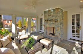 brass fireplace screen porch traditional with patio furniture