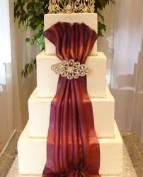 4 tier cake fondant front drape with rhinestones and tiara