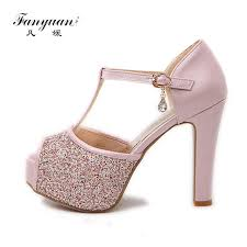 wedding shoes sandals fanyuan bling wedding shoes women 2018 peep toe buckle