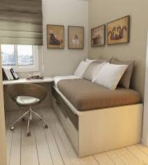bedroom small room with space saving bed which has double bed