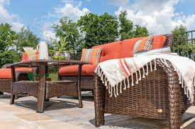 Wicker Patio Furniture Sawyer 6pc Resin Wicker Patio Furniture Conversation Set Orange