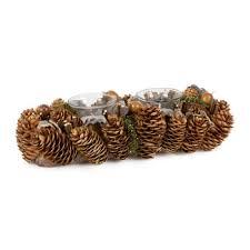 pine cone tea light holder to decorate christmas diy pine cone double tea light holder