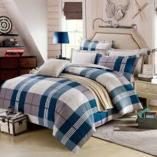Cotton Bedding Sets Aesthetic White And Steel Grey Checks Cotton Bedding Set