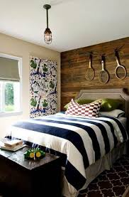 love the wood panels on the wall behind the bed my son would not