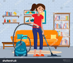 woman cleaning room vacuum cleaner flat stock vector 606436439