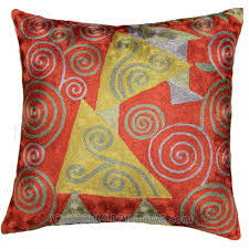 klimt pillow red burgundy tree of life accent pillow cover