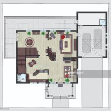 house plan with furniture of ground floor vector art getty images