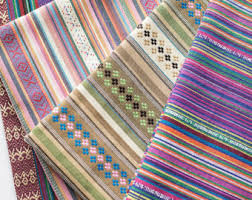 Woven Upholstery Fabric For Sofa Colorful Stripy Fabric Boho Bohemian Fabric Upholstery Fabric